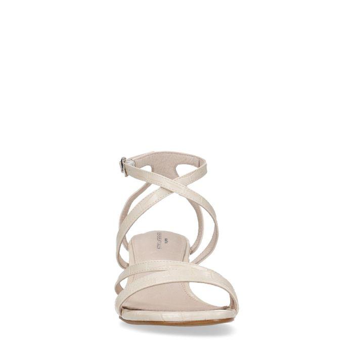 Sandales synthétique à talon avec imprimé croco - marron