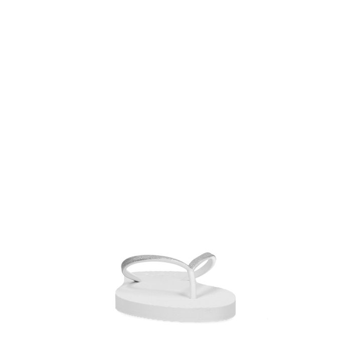 Tongs synthétique avec paillettes - blanc