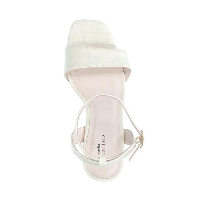 Sandales synthétique à talon avec imprimé croco - blanc cassé