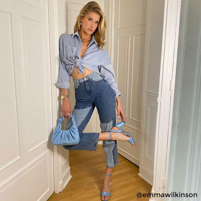 Sandales synthétique à talon avec imprimé croco - bleu