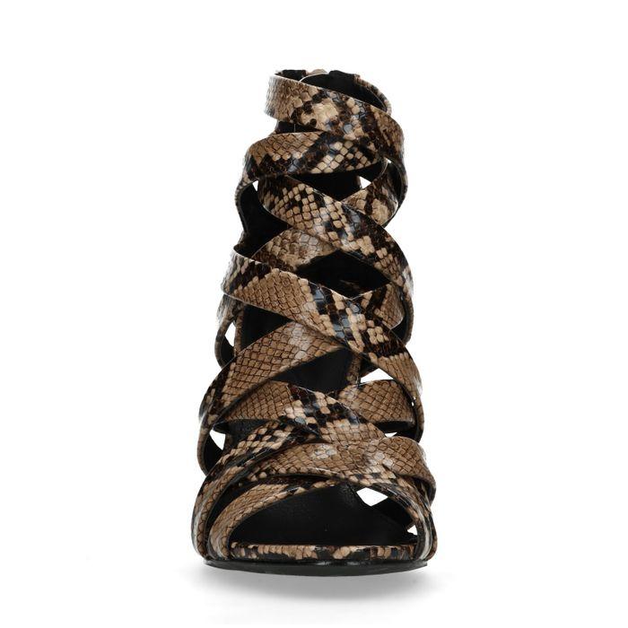 Escarpins synthétique ouverts avec imprimé serpent