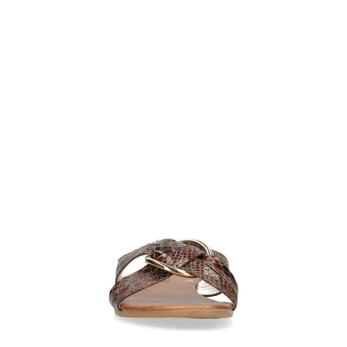Claquettes synthétique avec imprimé serpent et anneau doré