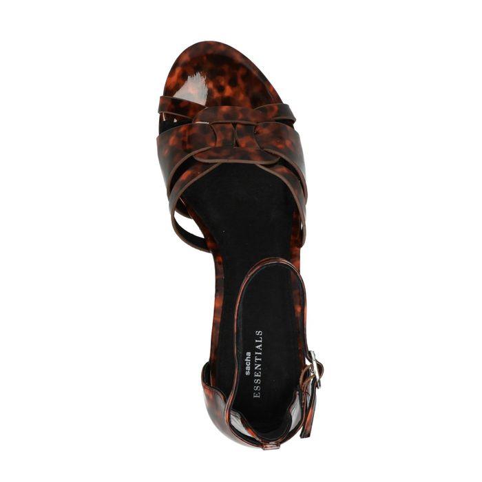 Sandales vernies en synthétique avec talon et imprimé
