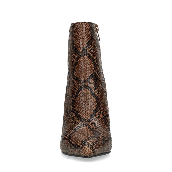 Bottines synthétique à talon avec imprimé serpent