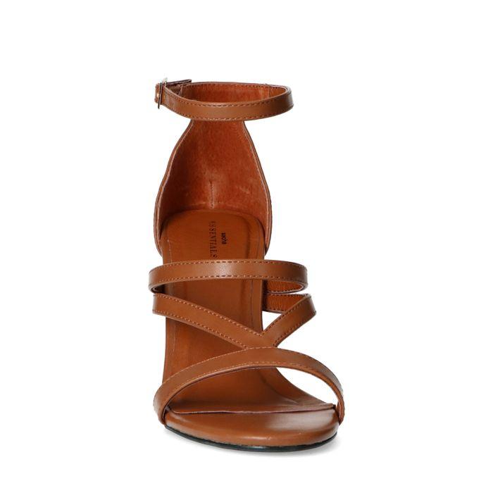 Sandales synthétique à talon haut - marron