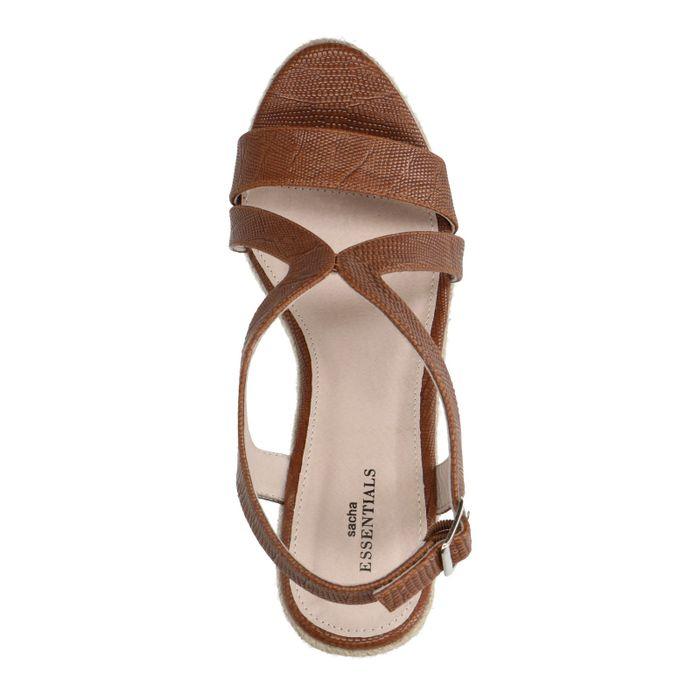 Sandales synthétique à talon compensé avec semelle en corde - marron