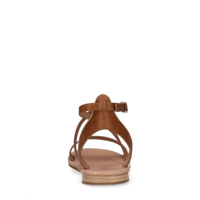 Sandales synthétique avec fermeture à boucle - marron