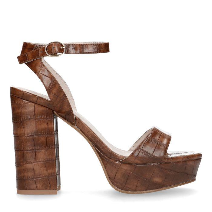 Sandales en matière synthétique avec talon cubain et imprimé croco - marron