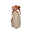 Chaussures tressées textile à talon compensé - marron