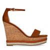 Chaussures suédine à talon compensé - marron
