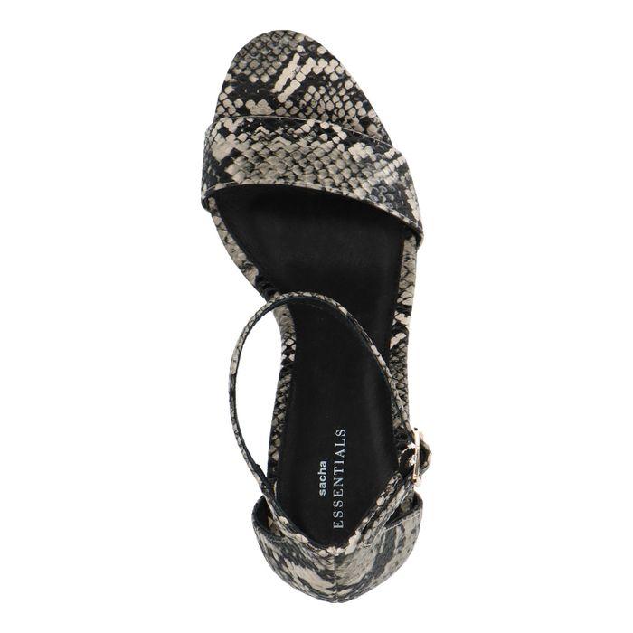 Chaussures suédine à talon compensé avec imprimé serpent