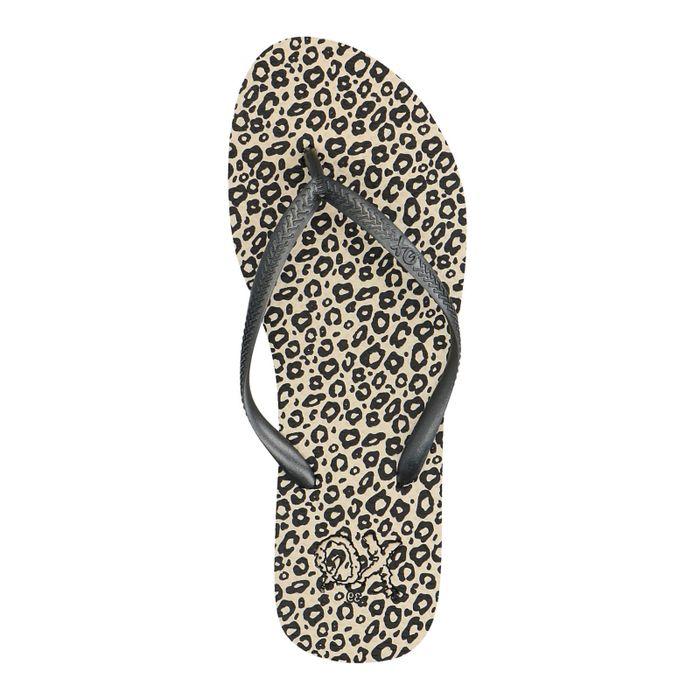 Tongs synthétique avec imprimé léopard - marron clair