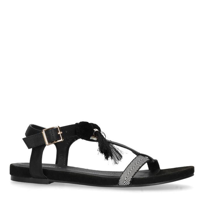 Sandales PU avec pompons - noir