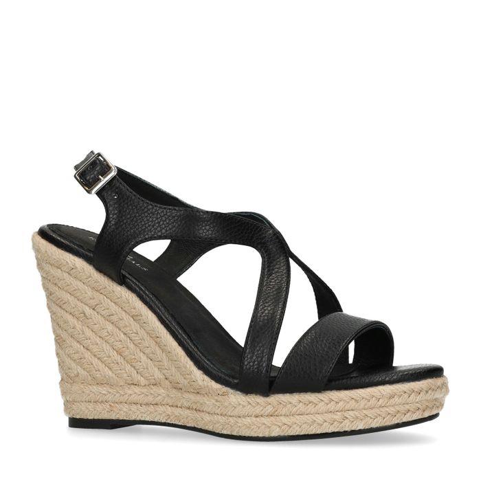 Sandales synthétique à talon compensé avec semelle en corde - noir