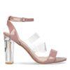 Sandales synthétique à talon - rose