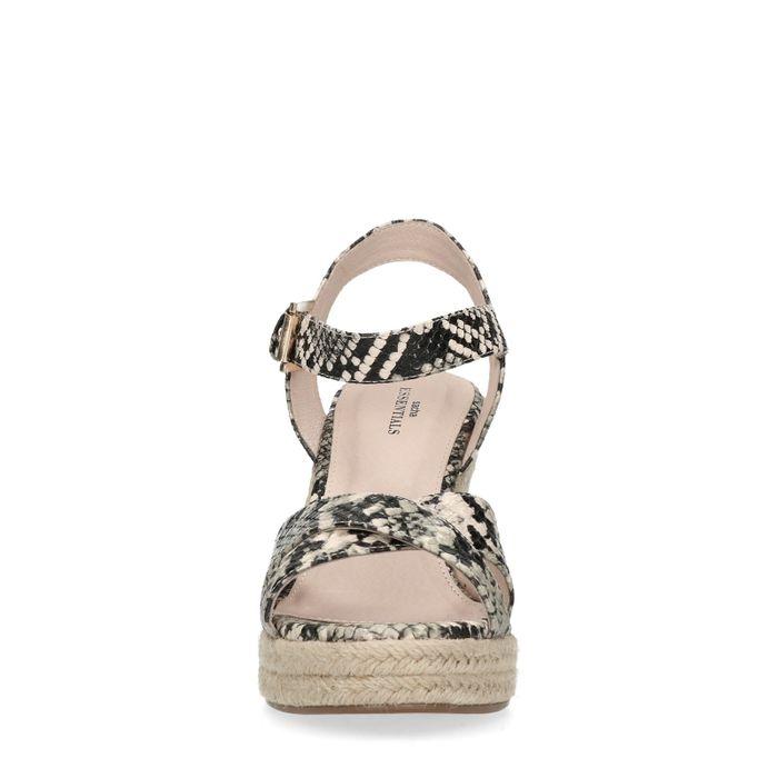 Sandales synthétique à talon compensé avec semelle en corde et imprimé