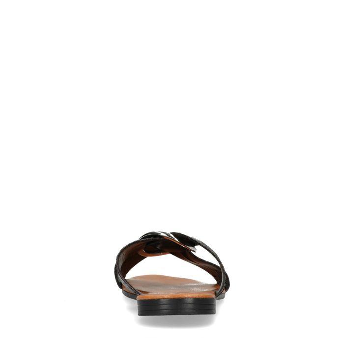 Claquettes synthétique avec imprimé serpent - noir