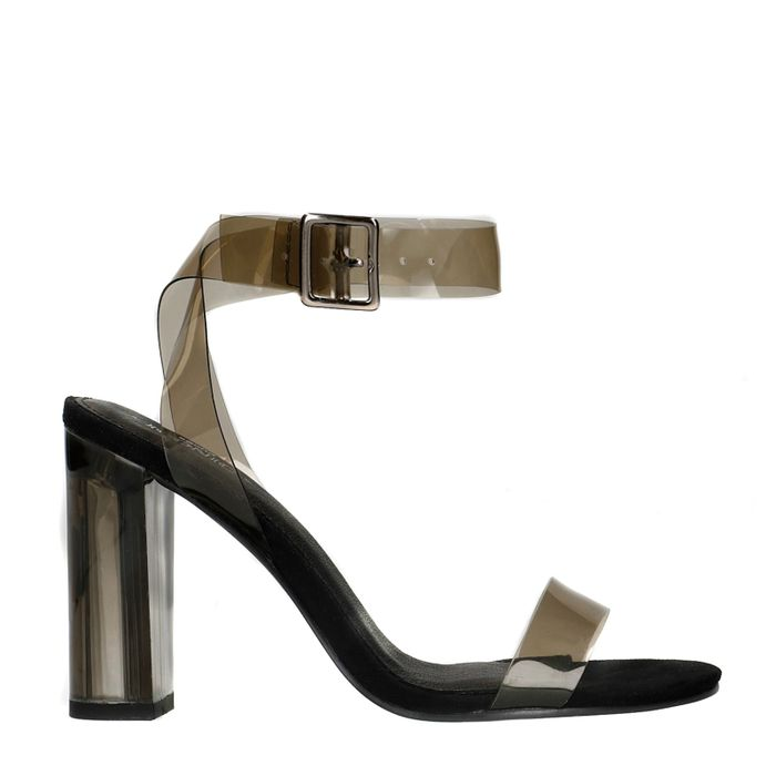 Sandales synthétique transparentes à talon - noir