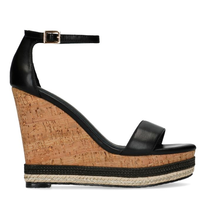 Sandales synthétique avec talon compensé - noir