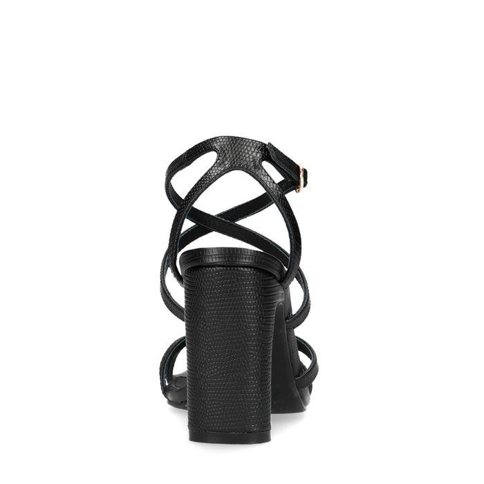 Sandales synthétique à talon avec imprimé serpent - noir