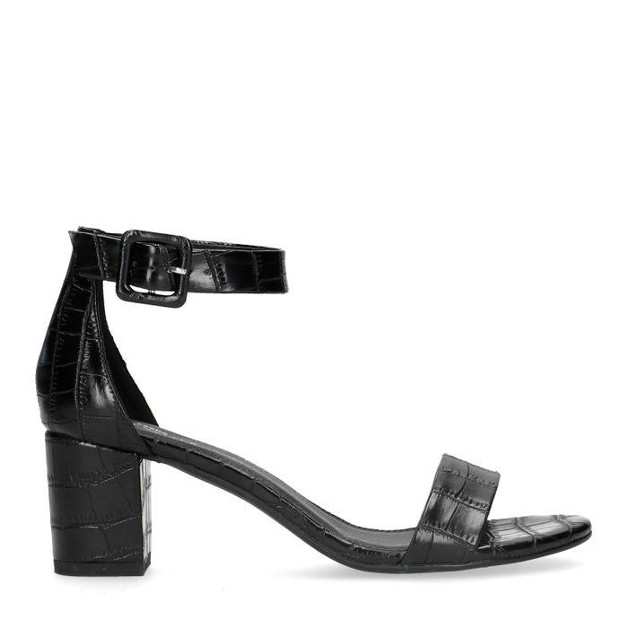 Sandales synthétique à talon avec imprimé croco - noir