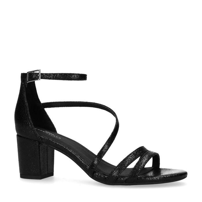 Sandales synthétique avec talon bas - noir