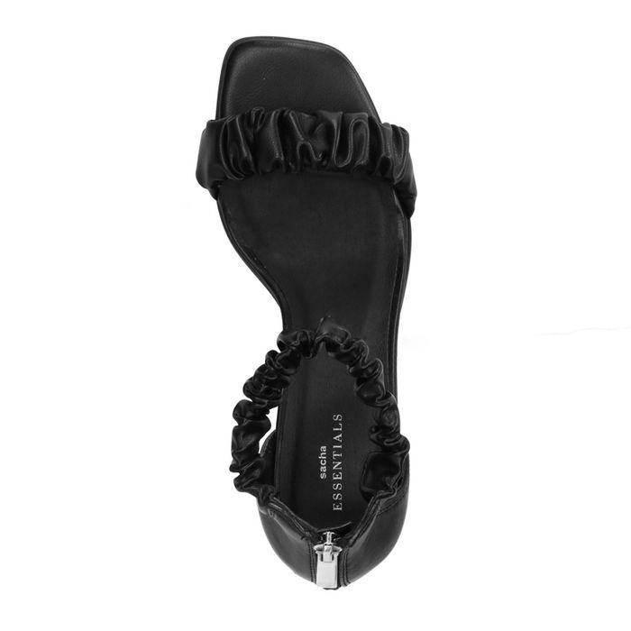 Sandales synthétique avec détails plissés - noir