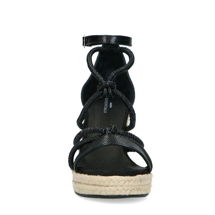Chaussures synthétique à talon compensé avec imprimé serpent - noir