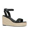 Sandales synthétique avec semelle compensée en corde tressée - noir