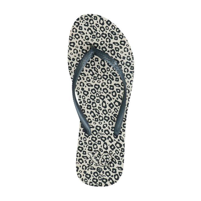 Claquettes synthétique avec imprimé léopard - noir