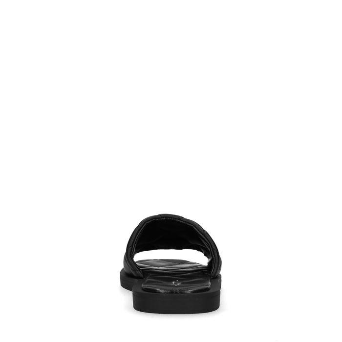 Claquettes en cuir avec motif à carreaux - noir