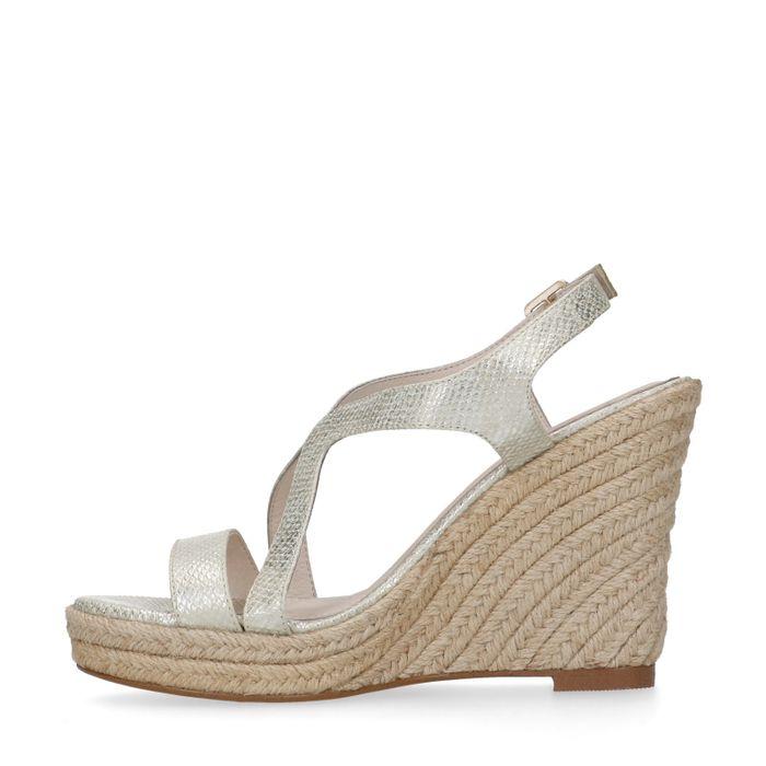 Sandales synthétique à talon compensé - doré