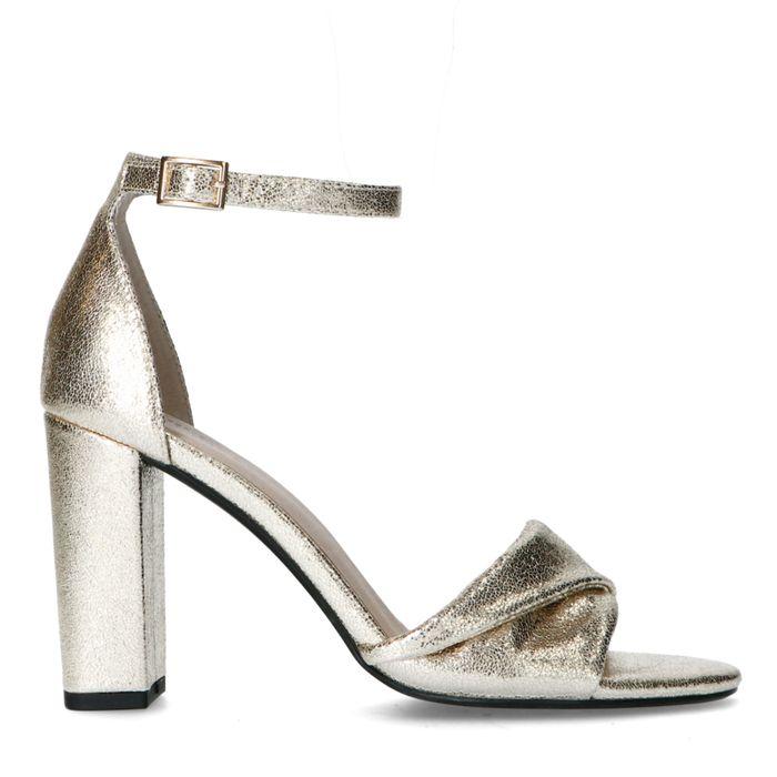 Sandales synthétique à talon haut - doré