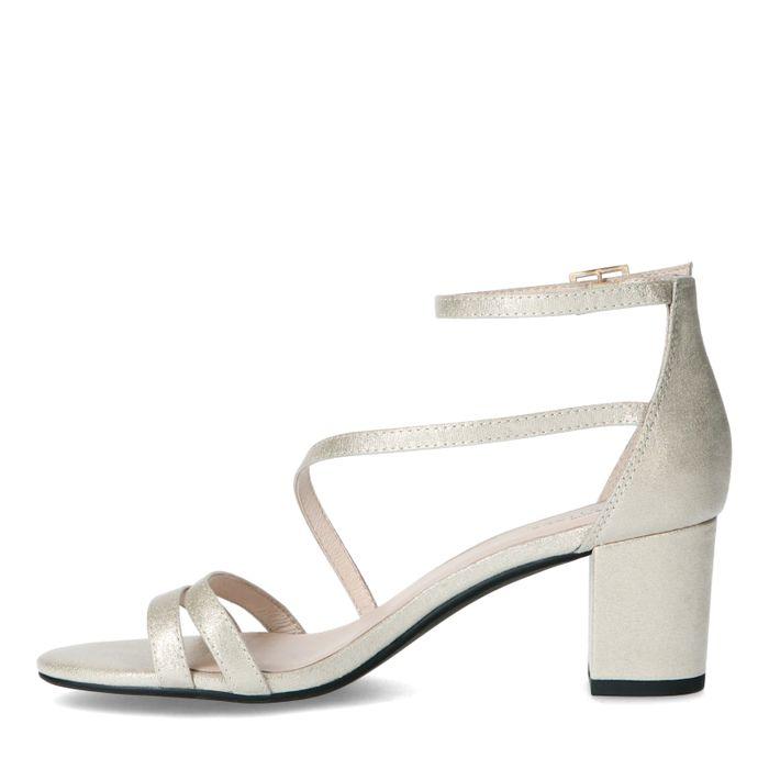 Sandales synthétique avec talon bas - doré