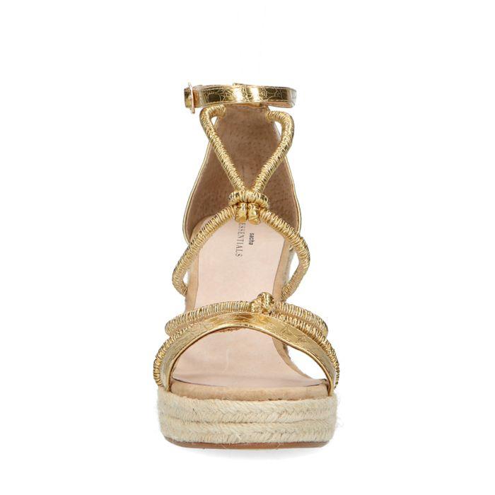 Chaussures synthétique à talon compensé avec imprimé serpent - doré
