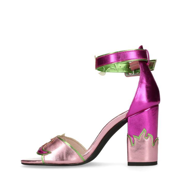 Sandales synthétique à talon avec flammes - rose