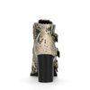 Bottines synthétique à boucles avec talon et imprimé serpent - beige