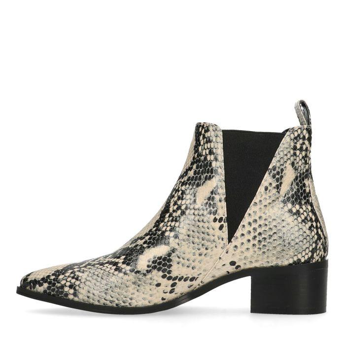 Chelsea boots synthétique avec imprimé serpent - beige