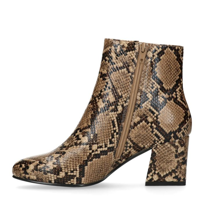 Bottines synthétique à talon avec imprimé serpent - marron