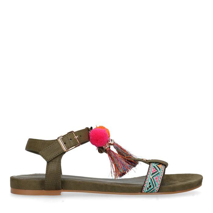 Sandales PU avec pompons - vert foncé