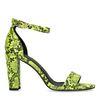 Sandales synthétique à talon avec imprimé serpent - vert fluo