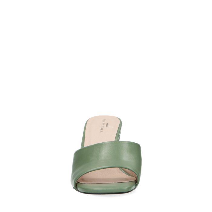 Mules synthétique à talon - vert