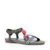 Sandales avec pompons - vert foncé