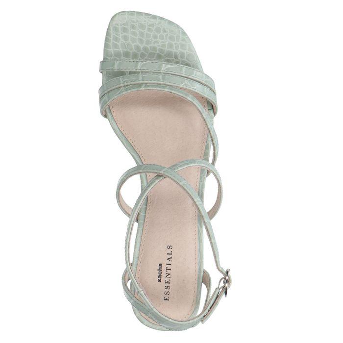 Sandales synthétique avec talon fin et imprimé croco - vert