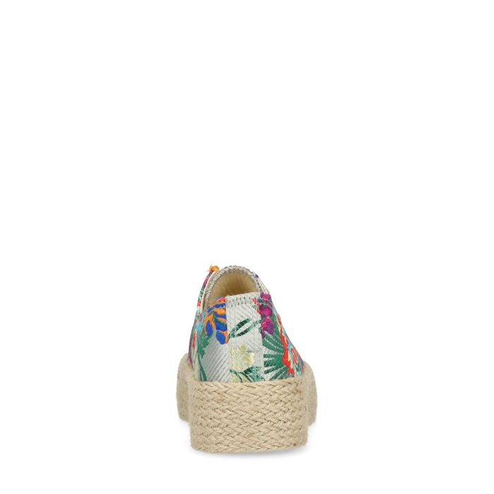Baskets semelle corde avec imprimé fleuri