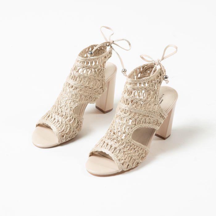 Sandales textile ajourées avec talon - beige