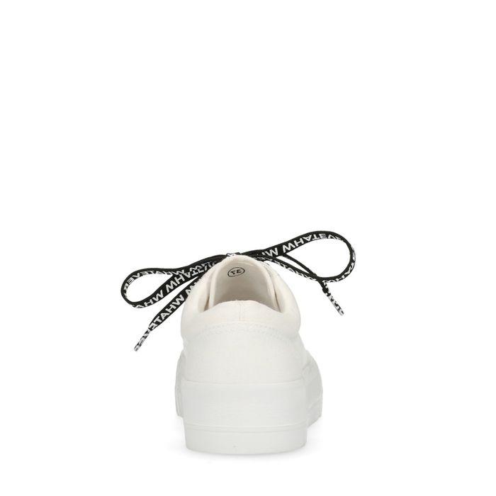 Baskets textile à plateforme avec texte sur lacets - blanc