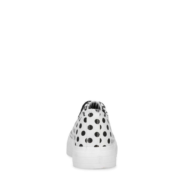 Baskets à plateforme textile avec pois - blanc