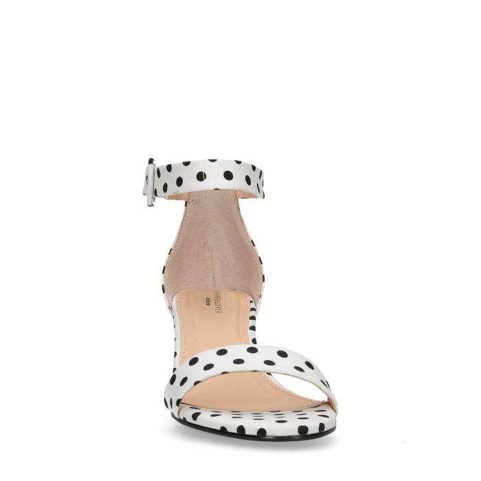 Sandales textile à talon avec pois - blanc