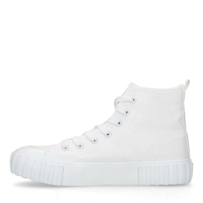 Baskets mi-hautes en textile - blanc